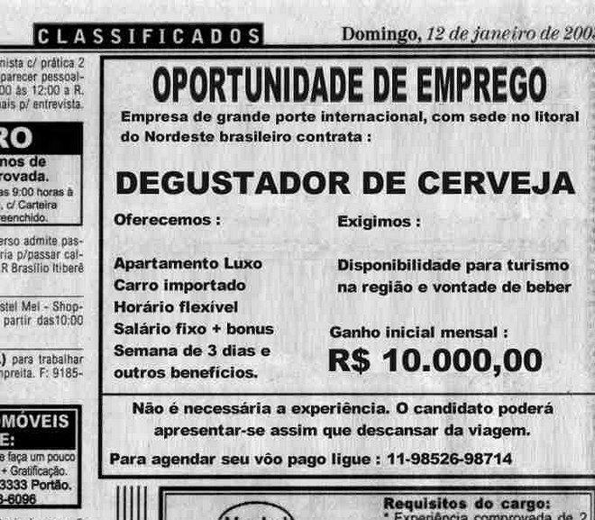 Anúncio de emprego